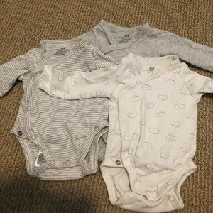 Three Pack of H&M Kimono-Style Onesies 1-2 Months
